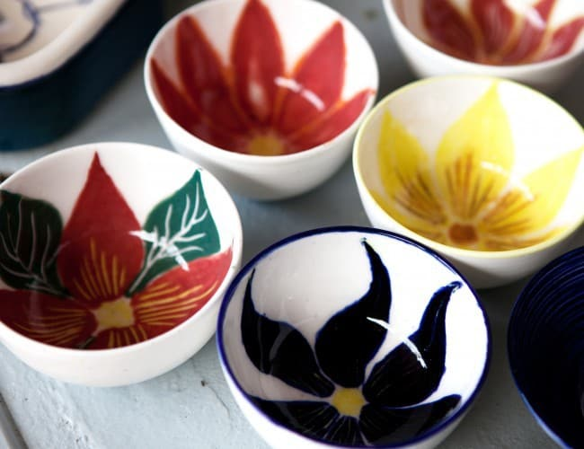 Brightly coloured glazed bowls