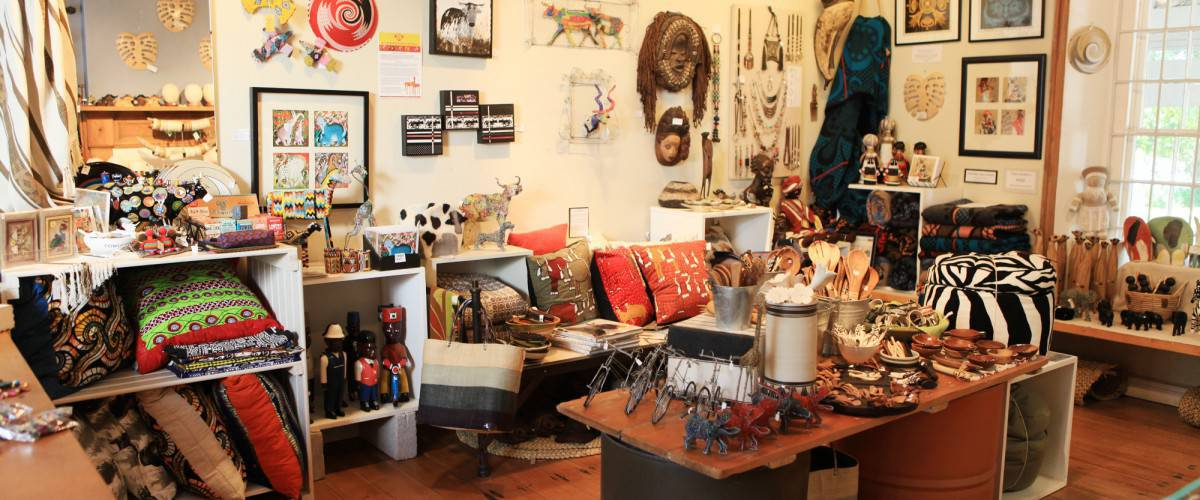 Interior of the MakeAfrica shop at Old Nick Village