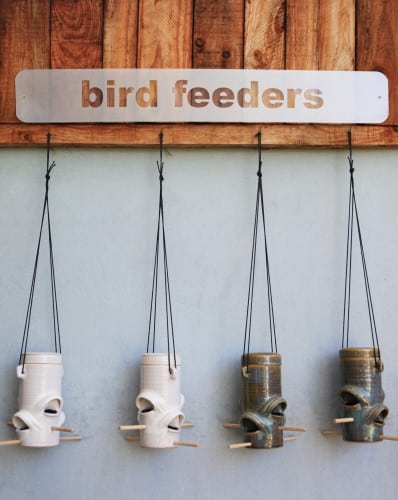 Bird feeders and other outdoor ceramics at Funky Furnace