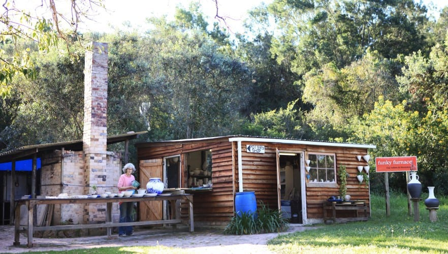The outdoor pottery studio and kiln